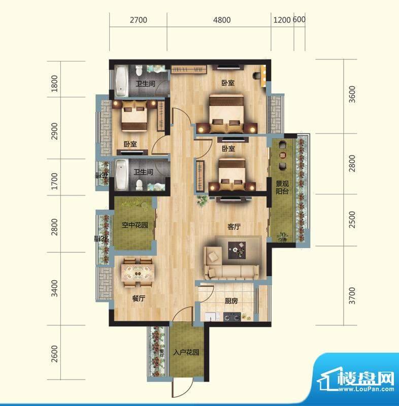 正大豪庭4#05户型图面积:123.00平米