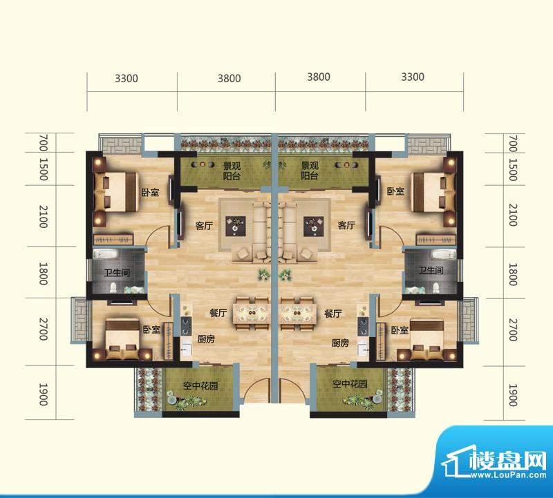 正大豪庭4#01/02户型面积:75.00平米