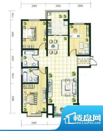 观筑户型A 3室2厅2卫面积:120.00m平米