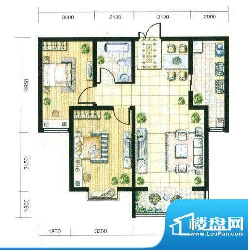 观筑户型B 2室2厅1卫面积:90.00m平米