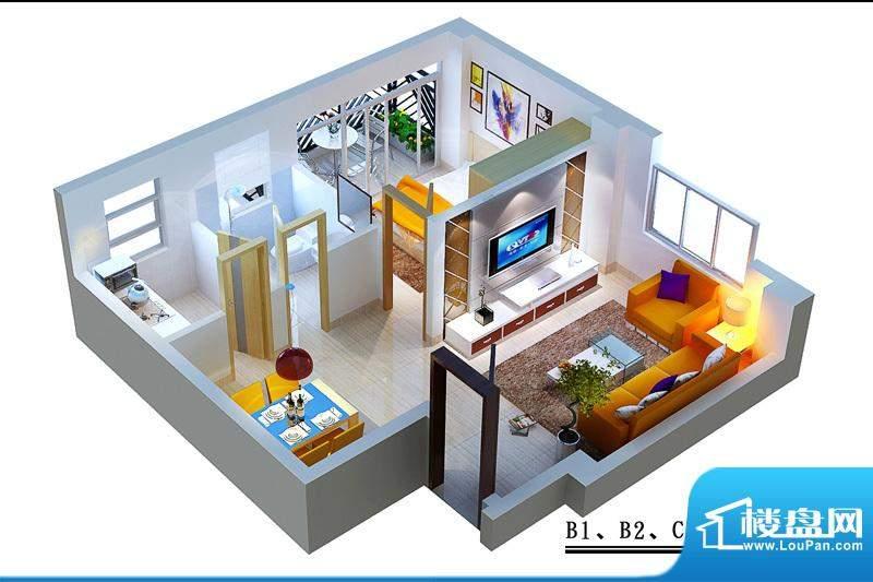 蓝岛滨海康城B1B2C2面积:54.12平米