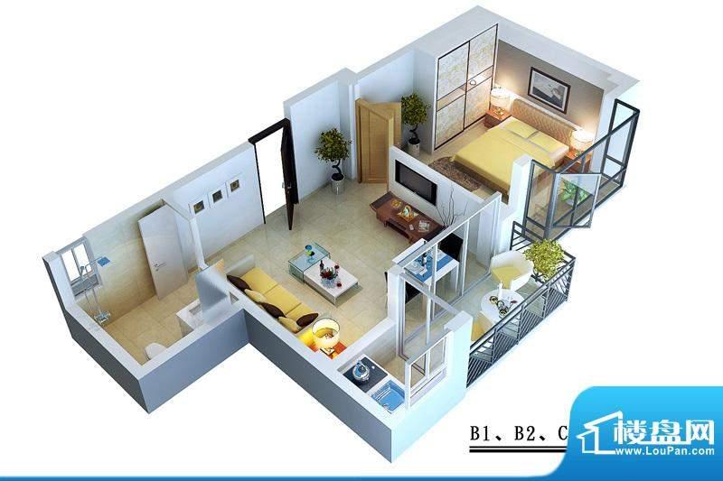 蓝岛滨海康城B1B2C2面积:50.72平米
