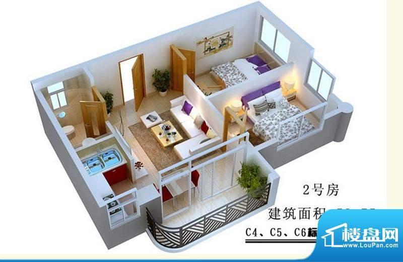 蓝岛滨海康城2号房B面积:52.75平米