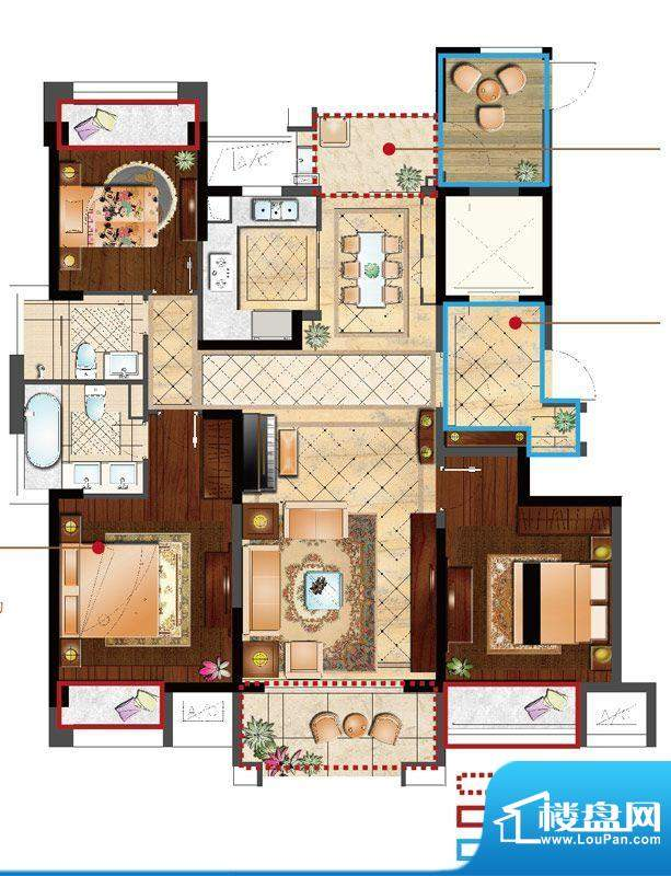 保利居上格调居D户型面积:136.00平米