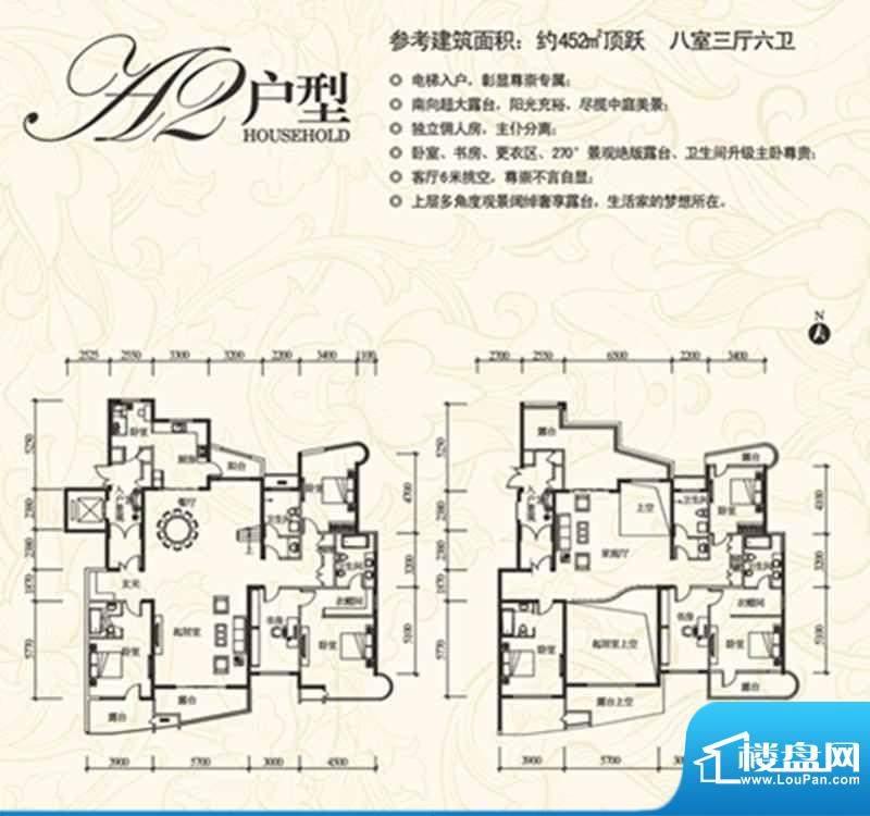 盈馨佳苑A2户型 8室面积:452.00m平米