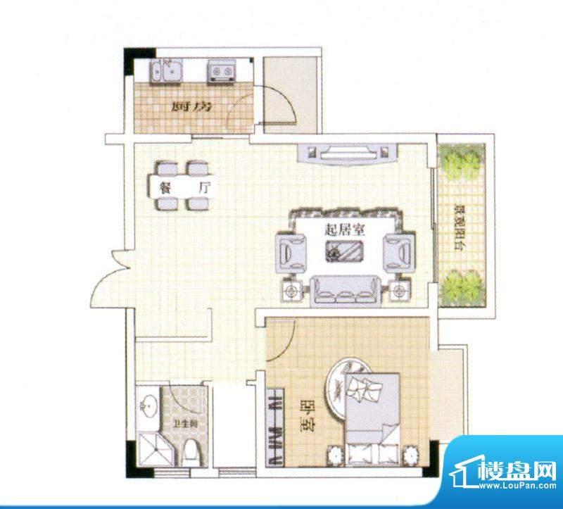 中宜大厦1房户型图 面积:66.07平米