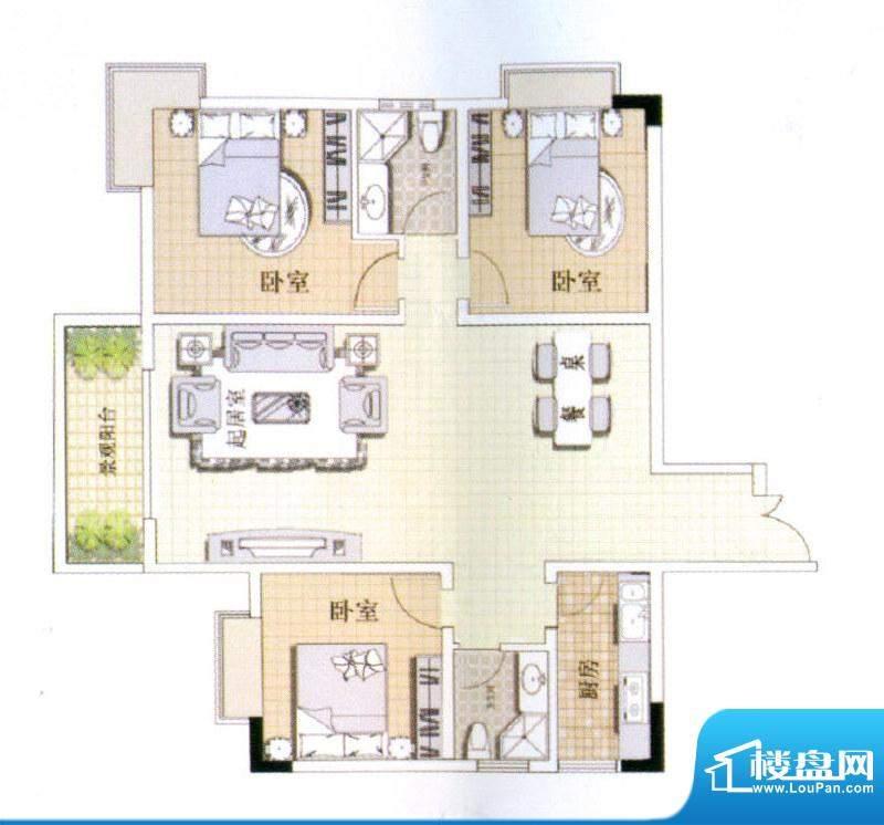 中宜大厦3房户型图 面积:132.15平米