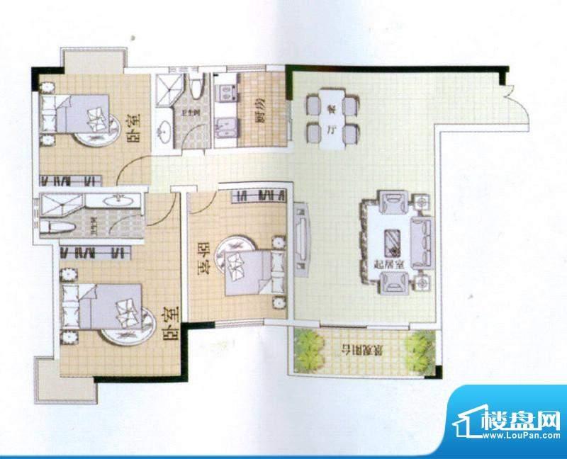 中宜大厦3房户型图 面积:135.65平米