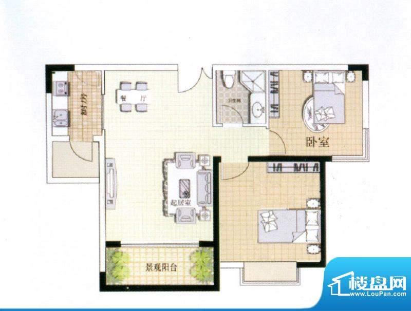 中宜大厦2房户型图 面积:76.99平米