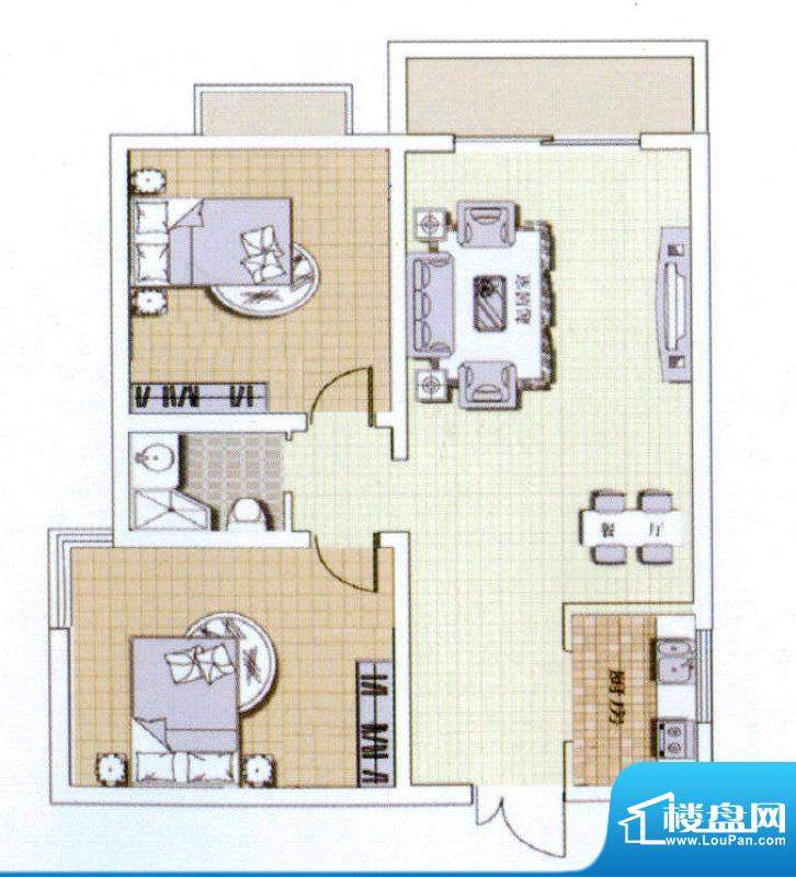 中宜大厦2房户型图 面积:86.75平米