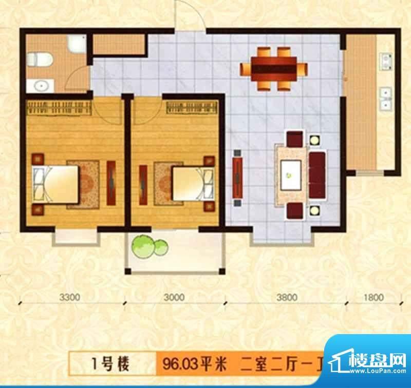 新泰园户型图1 2室2面积:96.03m平米