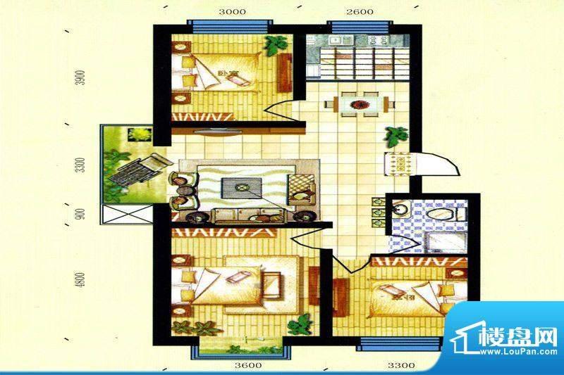 碧水蓝山D户型 3室2面积:99.50m平米