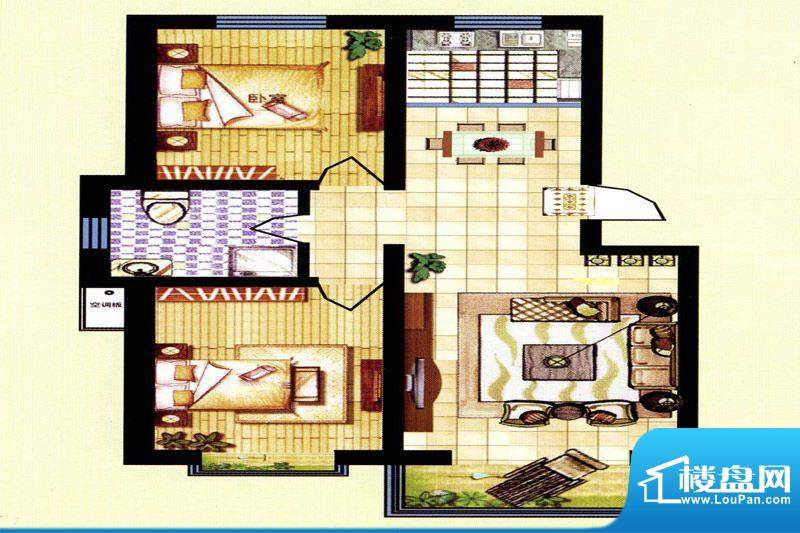 碧水蓝山E户型 2室2面积:97.50m平米