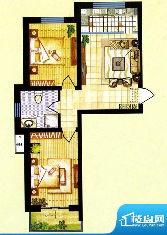 碧水蓝山F户型 2室1面积:77.50m平米