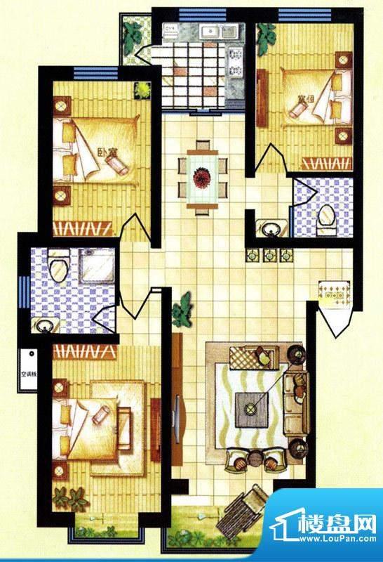 碧水蓝山A户型 3室2面积:120.50m平米