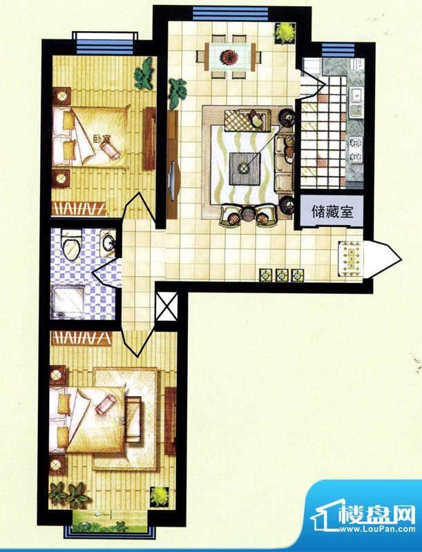碧水蓝山B户型 2室2面积:83.50m平米