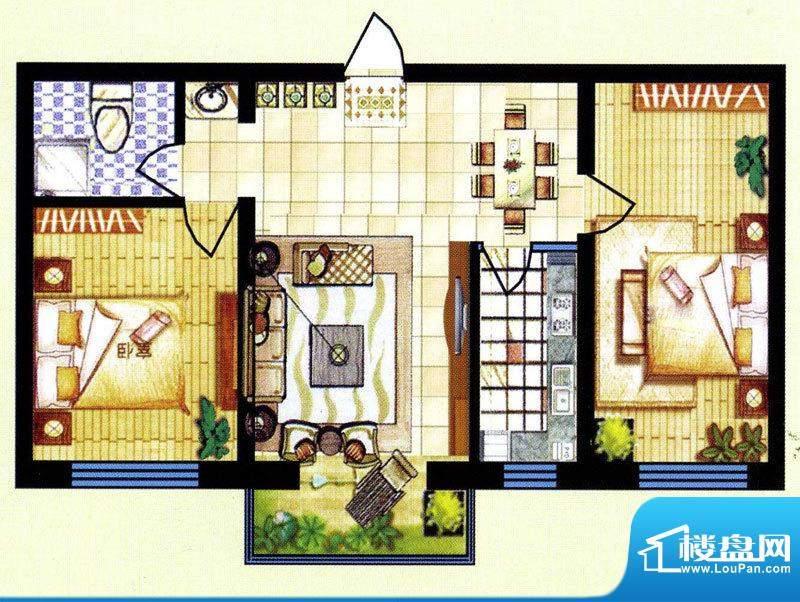碧水蓝山C户型 2室2面积:84.50m平米