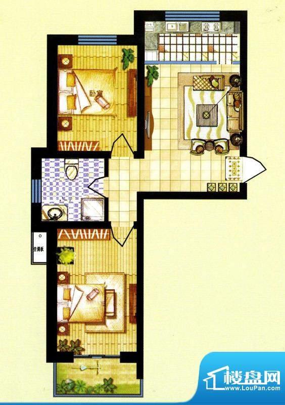 碧水蓝山F户型 2室1面积:0.00m平米