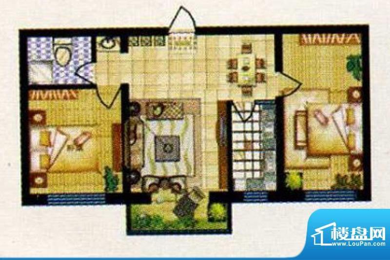 碧水蓝山G户型 2室2面积:86.00m平米