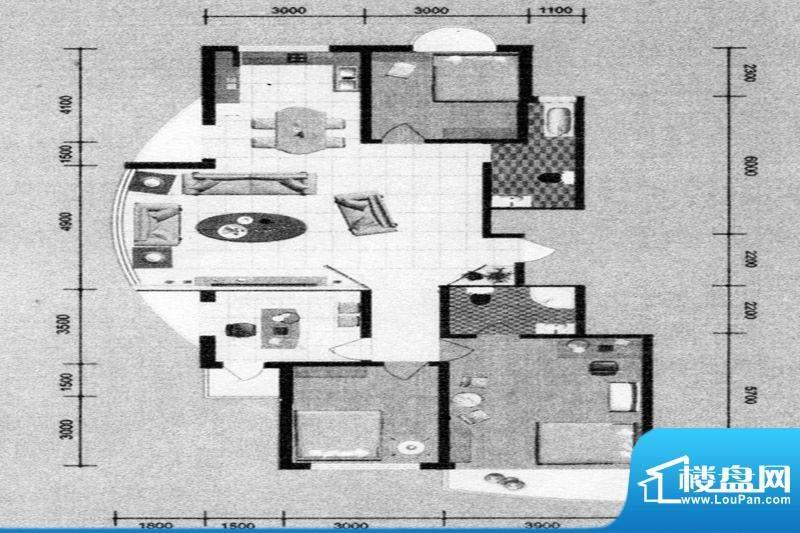 锦绣嘉苑户型图 4室面积:166.00m平米