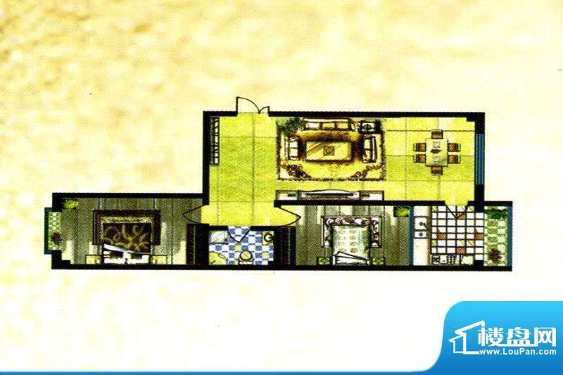 锦绣嘉苑A户型 2室2面积:101.00m平米