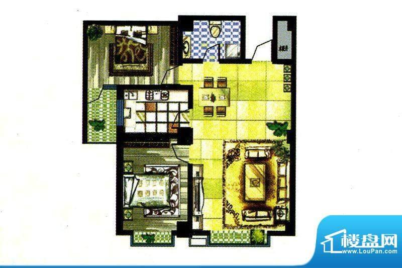 锦绣嘉苑B户型 2室2面积:113.80m平米