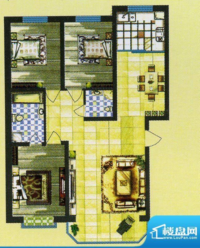 锦绣嘉苑户型图 3室面积:125.68m平米