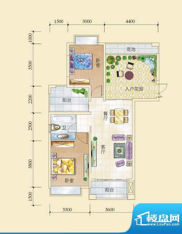 昌顺豪庭C1_C3户型 面积:93.41平米