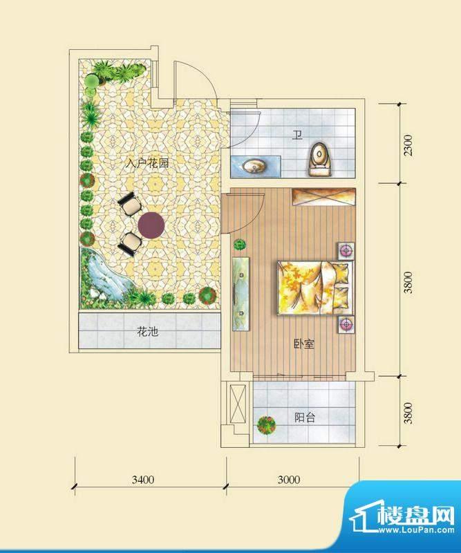 昌顺豪庭C2_C4户型 面积:34.90平米
