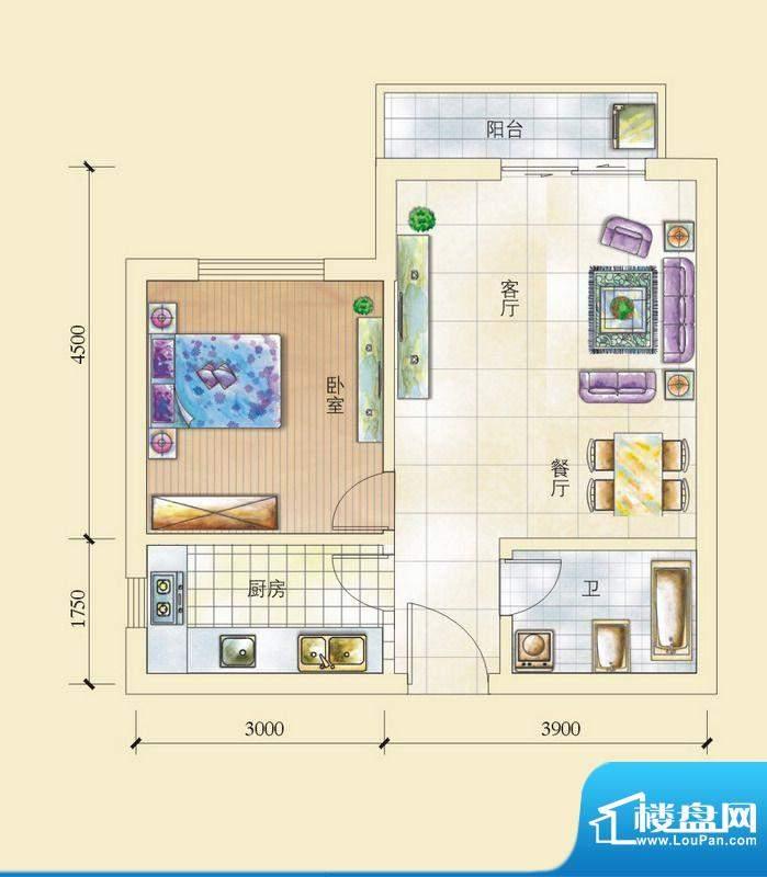 昌顺豪庭D户型 1室2面积:56.39平米