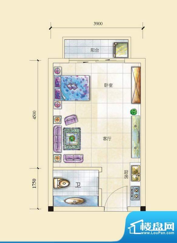 昌顺豪庭E户型1-1-1面积:0.00平米
