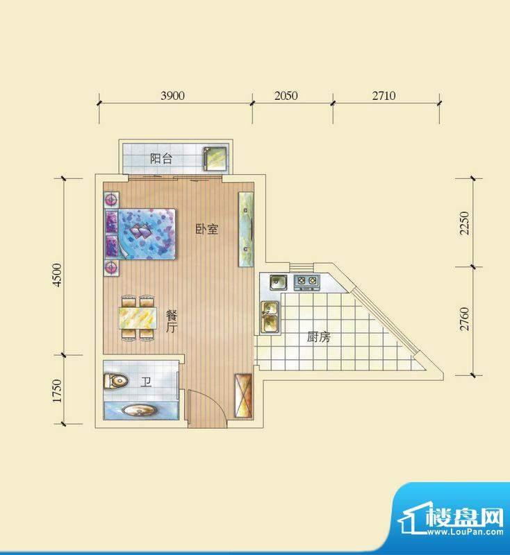 昌顺豪庭E户型酒店式面积:41.80平米