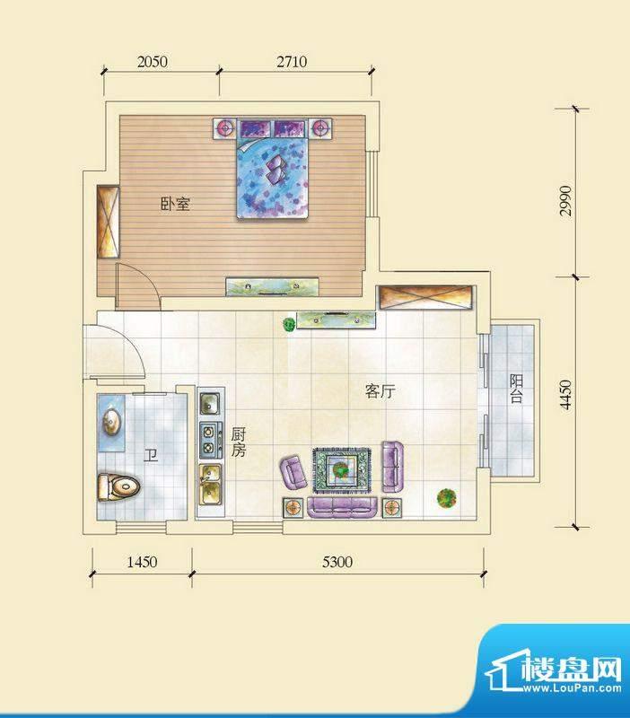 昌顺豪庭G户型酒店式面积:64.50平米
