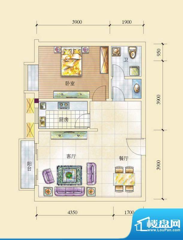 昌顺豪庭H户型1-2-1面积:74.69平米