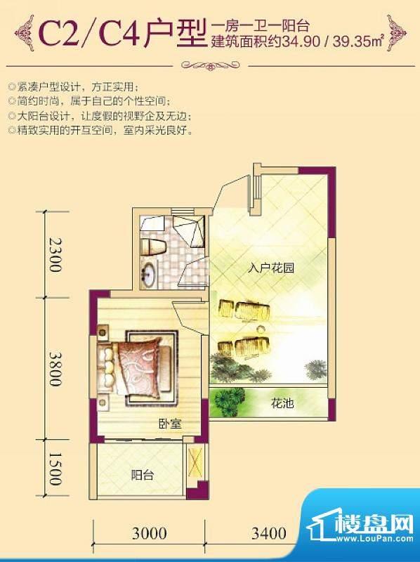 昌顺豪庭C2/C4户型图面积:34.90平米