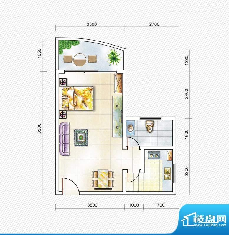 金山国际3#楼C1户型面积:44.00平米