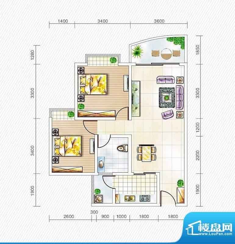 金山国际3#楼A1户型面积:80.27平米