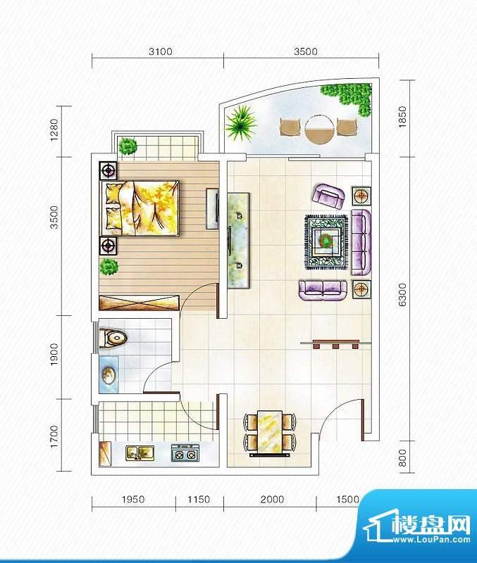 金山国际3#楼B1户型面积:60.40平米