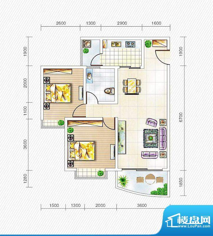 金山国际3#楼D1户型面积:79.12平米