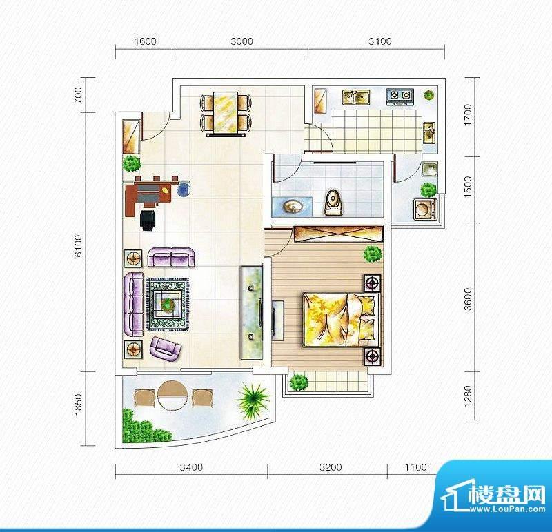 金山国际3#楼E1户型面积:61.39平米