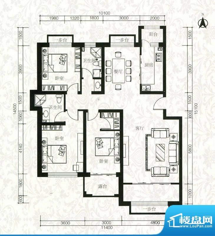 祥泰香榭花堤D户型6面积:147.05m平米