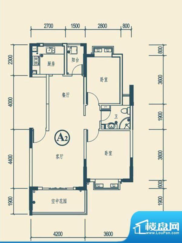 椰林嘉园A2户型 2室面积:91.95平米