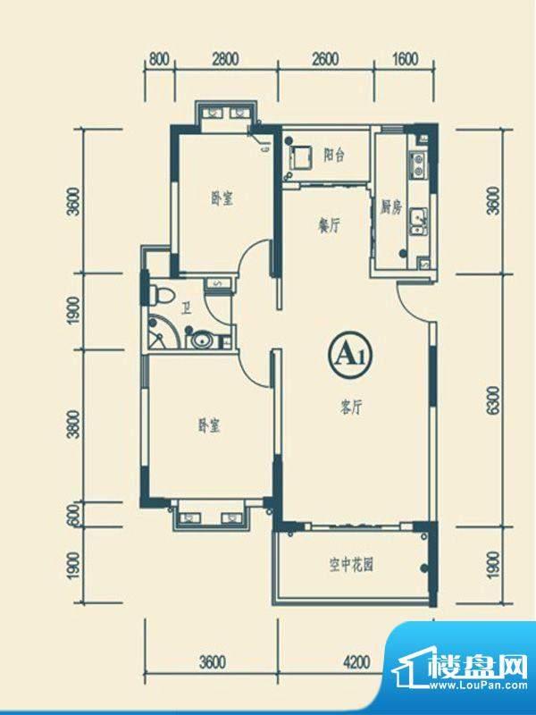 椰林嘉园A1户型 2室面积:94.00平米
