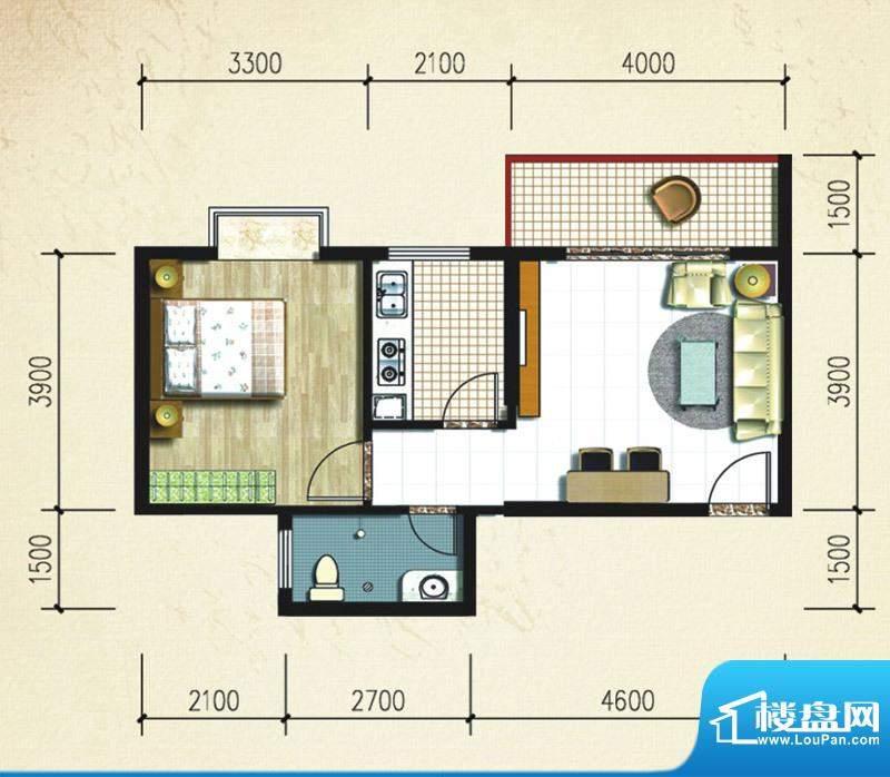 大忠雅苑B2户型图 1面积:53.55平米