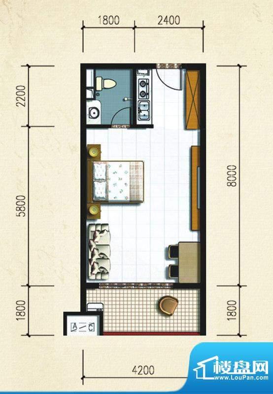 大忠雅苑B1户型图 1面积:45.52平米