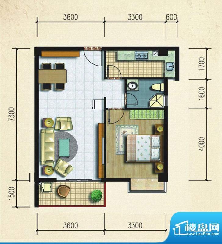 大忠雅苑A3户型图 1面积:67.34平米
