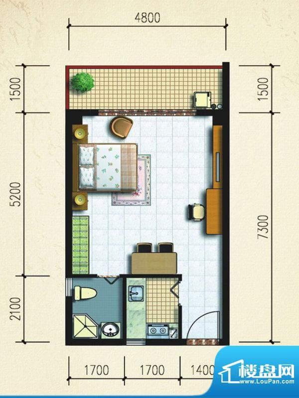 大忠雅苑A1户型图 1面积:47.97平米