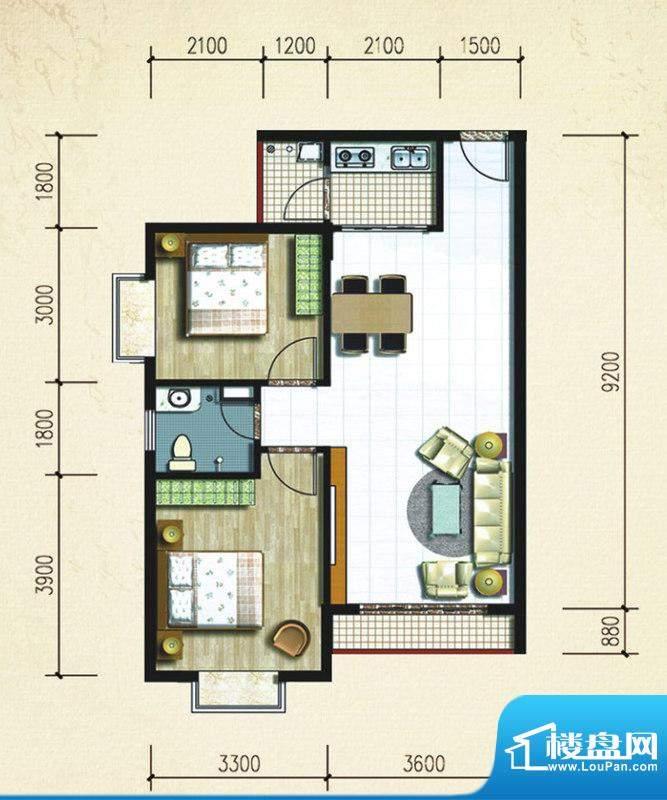大忠雅苑B3户型图 2面积:80.31平米