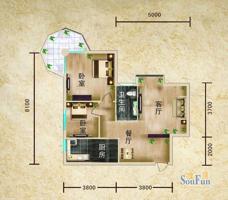 聚仙阁4、5号楼F1户面积:60.47平米