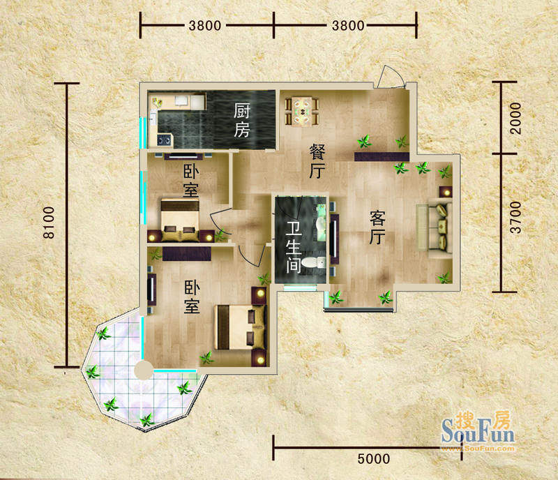 聚仙阁4、5号楼G1户面积:64.60平米